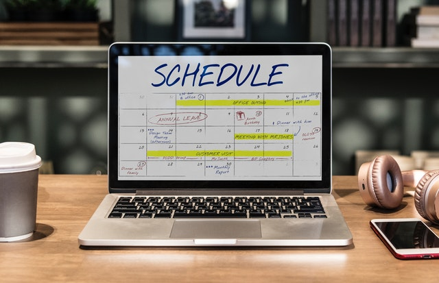 planned schedule on laptop