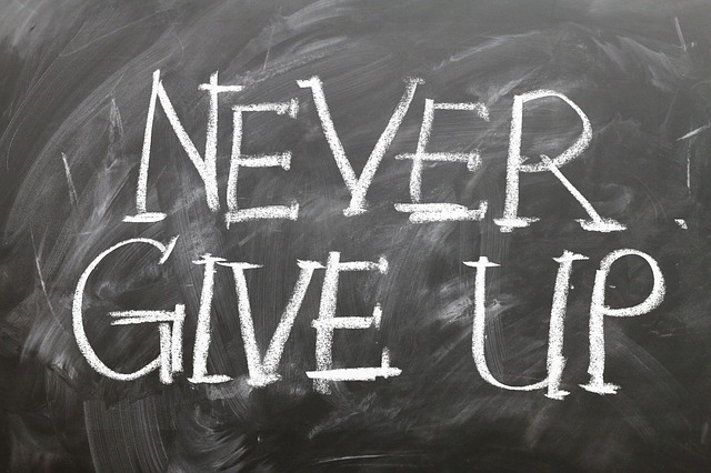 Never Give Up on chalkboard quote for Personal Development Plan