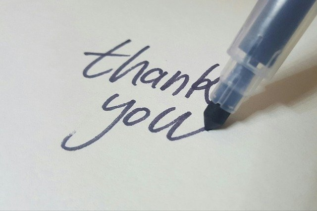 The words thank you written down is a good example of what you can write in a gratitude journal.