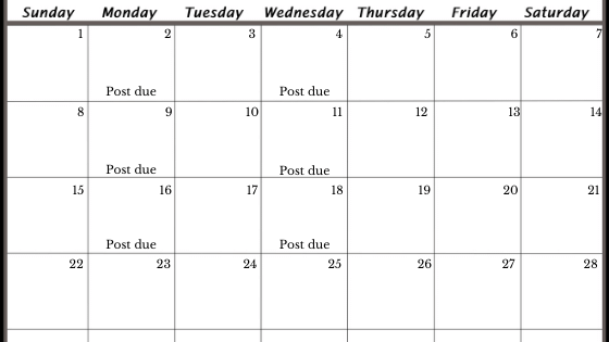 an editorial calendar with posting dates