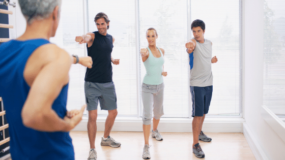 Woman taking a new exercise class