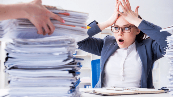 Woman with too much work to do
